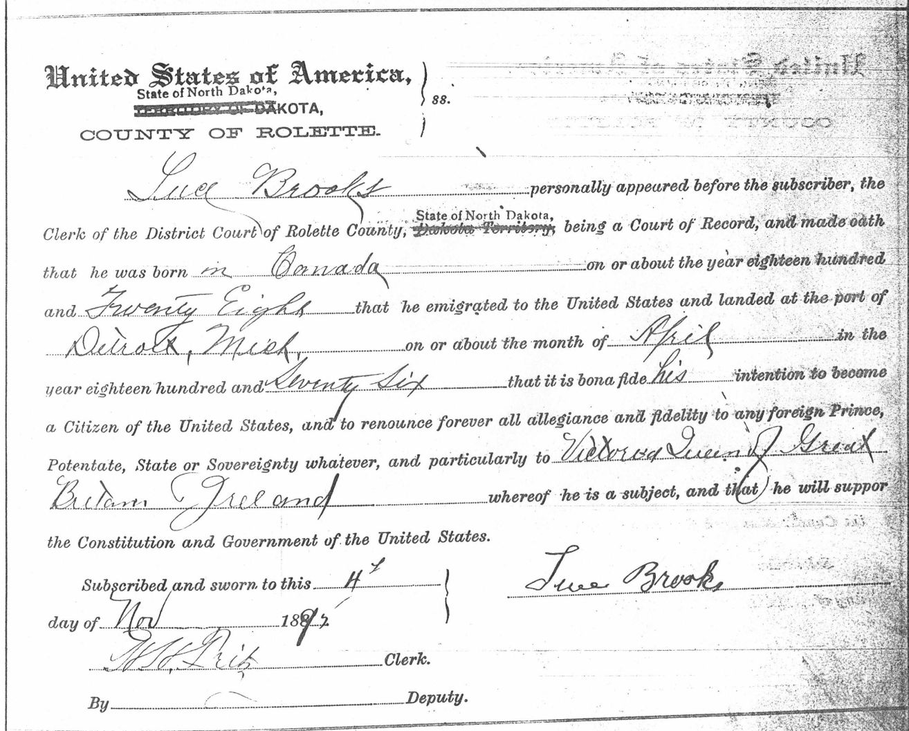 Luce Brooks 1st filing for US Naturalization